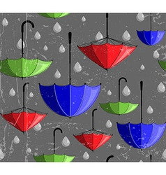 Pattern made of umbrellas and rain drops vector