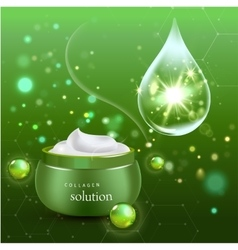 Realistic Collagen Cream Bottle on green vector image