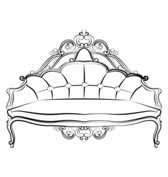 Royal sofa in baroque rococo style vector