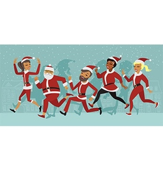 santa run snow vs vector image vector image