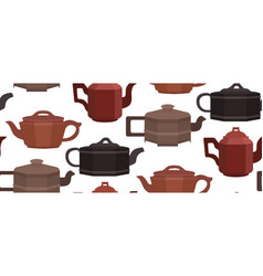 seamless texture with brewing clay chinese teapots vector image vector image