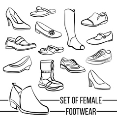 Set of drawn women s footwear lines vector