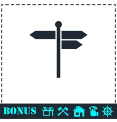 Signpost icon flat vector