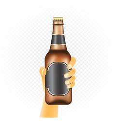 Small beer bottle in hand vector