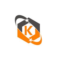 Star swoosh letter k vector