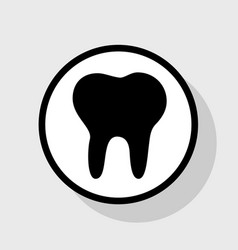 Tooth sign flat black icon vector