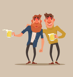 Two drunk friends men characters have fun vector
