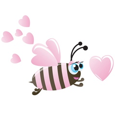 valentines day bee and hearts vector image vector image