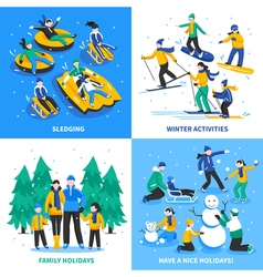 Winter activity 2x2 design concept vector