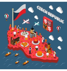 Chech Republic Touristic Attractions Isometric Map vector image