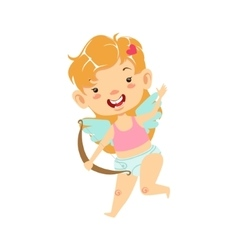 Girl baby cupid with bow winged toddler in diaper vector