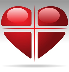 cross heart vector image