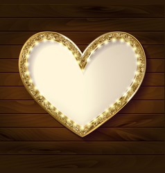 frame cinema heart on wooden background vector image