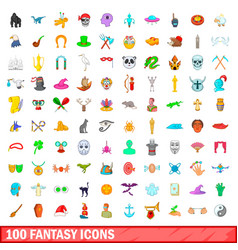 100 fantasy icons set cartoon style vector image