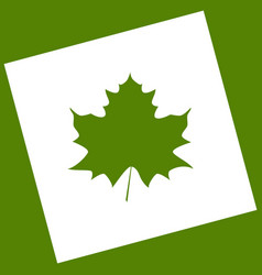 maple leaf sign  white icon obtained as a vector image