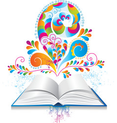 Open book with color splash and curl vector