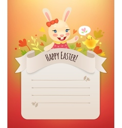 Happy easter bunny girl greeting card vector