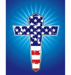 American flag cross illustration vector