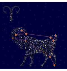 Zodiac sign aries over starry sky vector