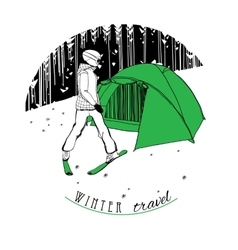 Skier with a tent on snow vector