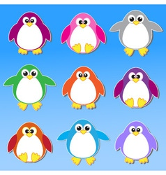 Colorful penguins stickers vector