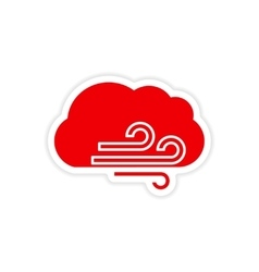 Icon sticker realistic design on paper cloud wind vector
