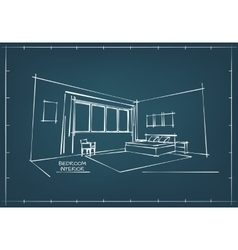Blueprint interior drawing vector