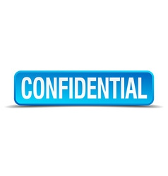 Confidential blue 3d realistic square isolated vector