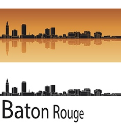 Baton rouge skyline in orange background vector