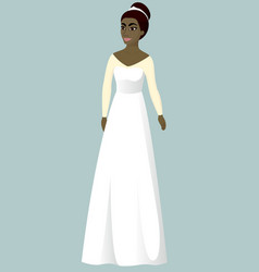 Bride in a-line wedding dress vector