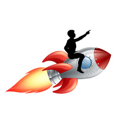 Businessman riding rocket ship vector
