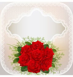 card with red roses and lace vector image vector image