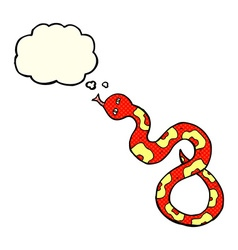 Cartoon snake with thought bubble vector