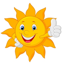 Cartoon sun giving thumbs up vector