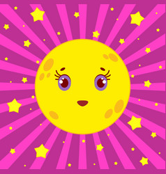 cartoon yellow moon smiling on a pink striped vector image vector image