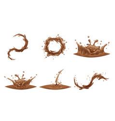 Chocolate flowing splash drop wave whirlpool vector