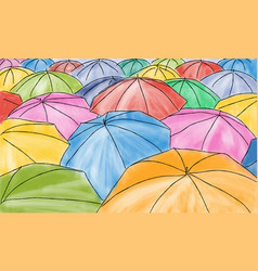 Colored umbrellas in the rain - pattern vector