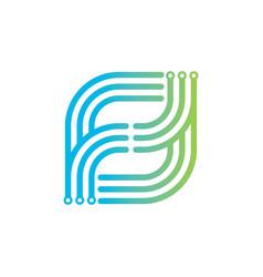 Computer technology logo design vector