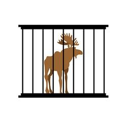 Deer in a cage Animal in Zoo behind bars Elk with vector image