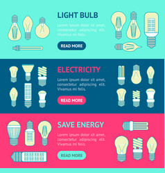 different lamp or light bulbs line banner vector image