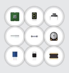 Flat icon appliance set of memory hdd vector