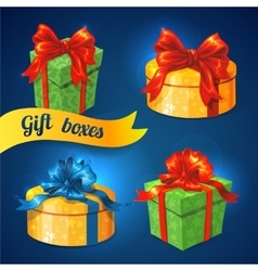 gift box set with bows and ribbons vector image vector image