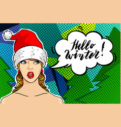 Girl in the red hat of santa claus vector