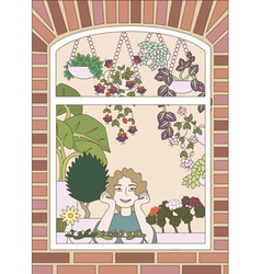 Girl looking trough a window with plenty flowers vector