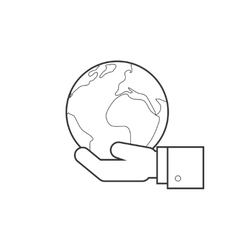 Hand holding globe line icon vector
