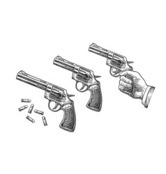 Hand holding revolver with bullets isolated on vector