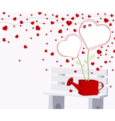 Heart tree in the water can on the chair vector image vector image