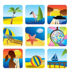 holiday and sea icons vector image vector image