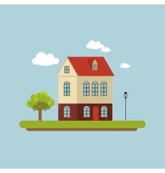 House facade Part of the urban landscape Tree vector image