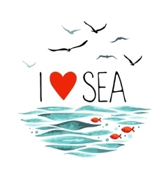 I love sea with seagulls waves and red fish vector
